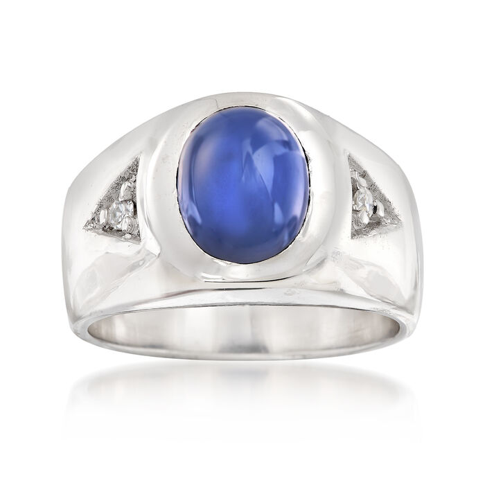 C. 1970 Vintage Synthetic Star Sapphire Ring in 14kt White Gold with Diamond Accents. Size 6, , default