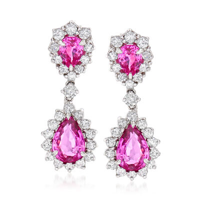 6.60 ct. t.w. Pink Sapphire and 2.16 ct. t.w. Diamond Drop Earrings in 14kt White Gold, , default
