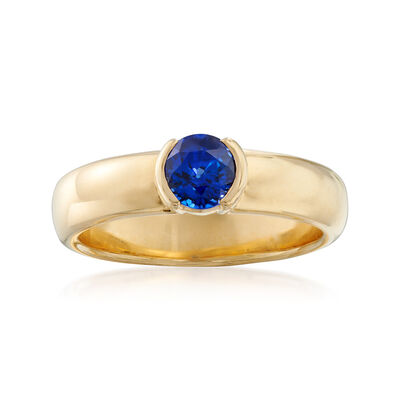 C. 1990 Vintage Tiffany Jewelry .50 Carat Sapphire Ring in 18kt Yellow Gold, , default