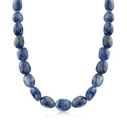 "Graduated Free-Form Sapphire Bead Necklace With Sterling Silver. 18"", , default"