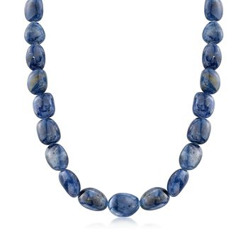 """Graduated Free-Form Sapphire Bead Necklace With Sterling Silver. 18"""", , default"""