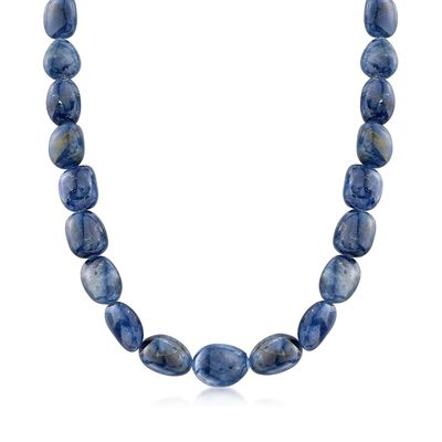 285.00 ct. t.w. Graduated Free-Form Sapphire  Bead Necklace with Sterling Silver, , default