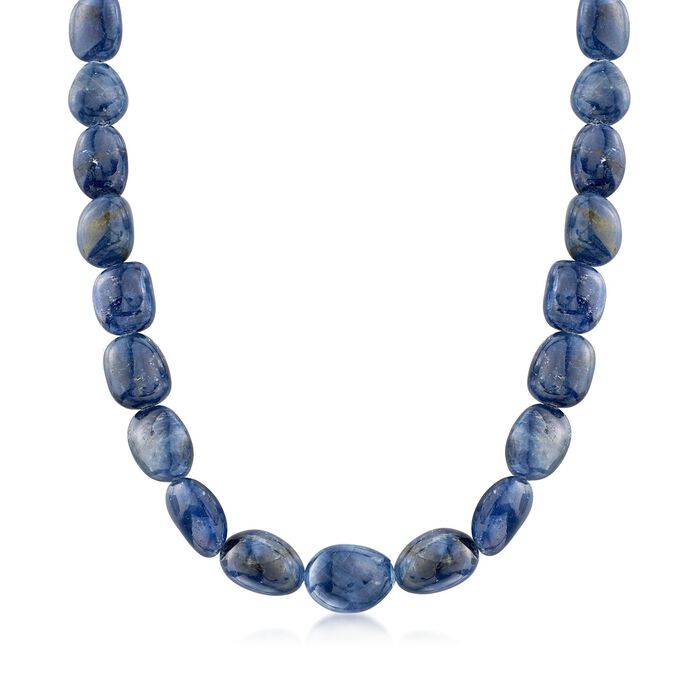 "285.00 ct. t.w. Graduated Free-Form Sapphire  Bead Necklace with Sterling Silver. 18"", , default"