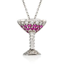 "Roberto Coin ""Tiny Treasures"" Pink Sapphire and Diamond Martini Glass  Necklace in 18kt White Gold. 18"", , default"
