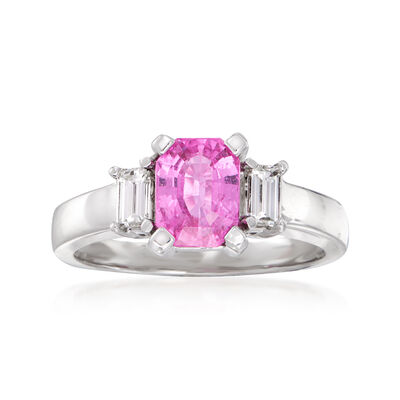 1.70 Carat Pink Sapphire and .50 ct. t.w. Diamond Ring in 14kt White Gold