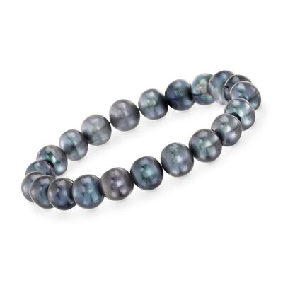 9-10mm Black Cultured Pearl Stretch Bracelet, , default