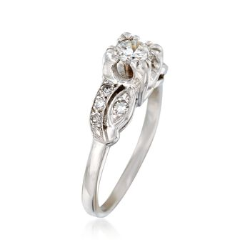 C. 1950 Vintage .50 ct. t.w. Diamond Ring in 14kt White Gold. Size 5.5, , default