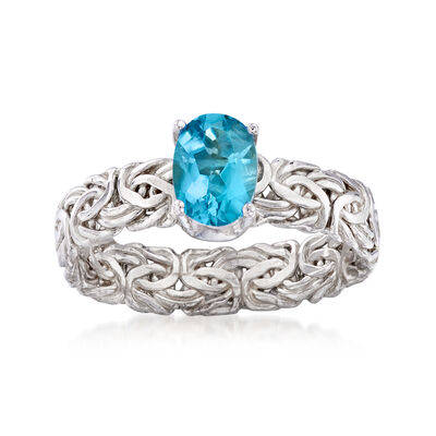 .90 Carat Blue Topaz Byzantine Ring in Sterling Silver, , default