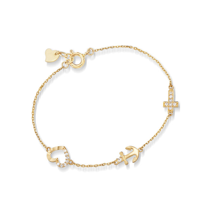 """Child's CZ-Accented Cross, Anchor and Heart Bracelet in 14kt Yellow Gold. 5"""""""