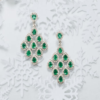 3.00 ct. t.w. Emerald and 1.46 ct. t.w. Diamond Chandelier Earrings in 14kt White Gold, , default