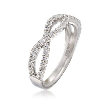 Henri Daussi .35 ct. t.w. Diamond Twisted Wedding Ring in 18kt White Gold, , default