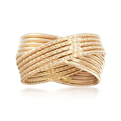 14kt Yellow Gold Textured and Polished Multi-Band Crisscross Ring, , default