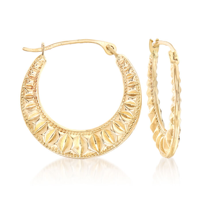"14kt Yellow Gold Embellished Hoop Earrings. 5/8"", , default"