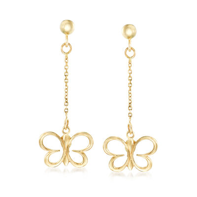 Italian 14kt Yellow Gold Butterfly Drop Earrings, , default