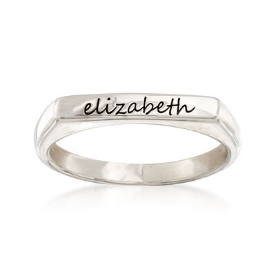 Sterling Silver Flat-Top Script Name Ring, , default