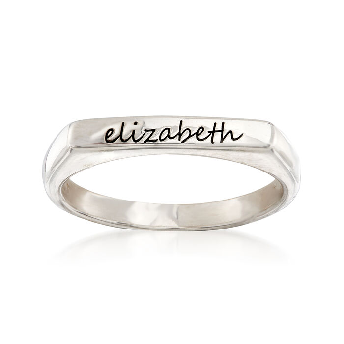 Sterling Silver Flat-Top Script Name Ring