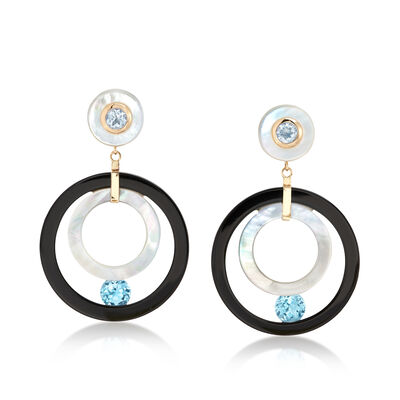 Mother-Of-Pearl and Black Onyx Open-Circle Drop Earrings with Blue Topaz in 14kt Gold, , default