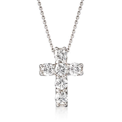 Roberto Coin 1.06 ct. t.w. Square-Set Diamond Cross Pendant Necklace in 18kt White Gold
