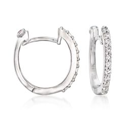 Roberto Coin .20 ct. t.w. Diamond Huggie Hoop Earrings in 18kt White Gold, , default