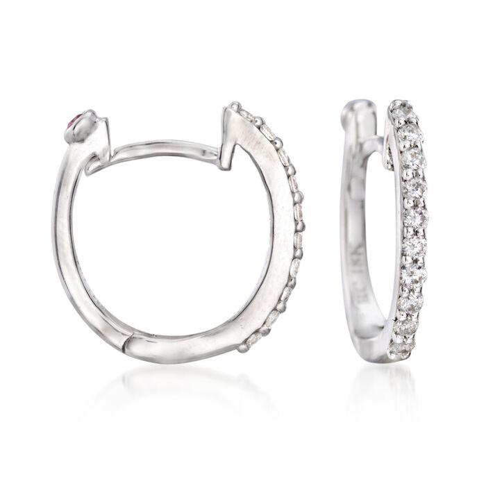 "Roberto Coin .20 ct. t.w. Diamond Huggie Hoop Earrings in 18kt White Gold. 3/8"", , default"