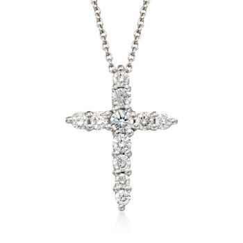 "Roberto Coin .39 ct. t.w. Diamond Cross Pendant Necklace in 18kt White Gold. 16"", , default"