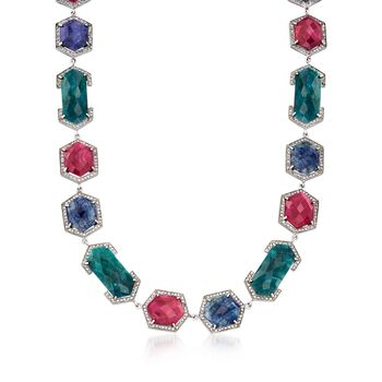 """140.00 ct. t.w. Multicolored Corundum Necklace With 4.80 ct. t.w. White Zircon in Sterling Silver. 18.5"""", , default"""