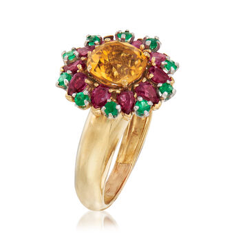 C. 1980 Vintage 3.35 ct. t.w. Multi-Gem Flower Cluster Ring in 18kt Yellow Gold. Size 6.5