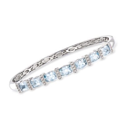 5.45 ct. t.w. Aquamarine Bangle Bracelet with Diamond Accents in Sterling Silver, , default