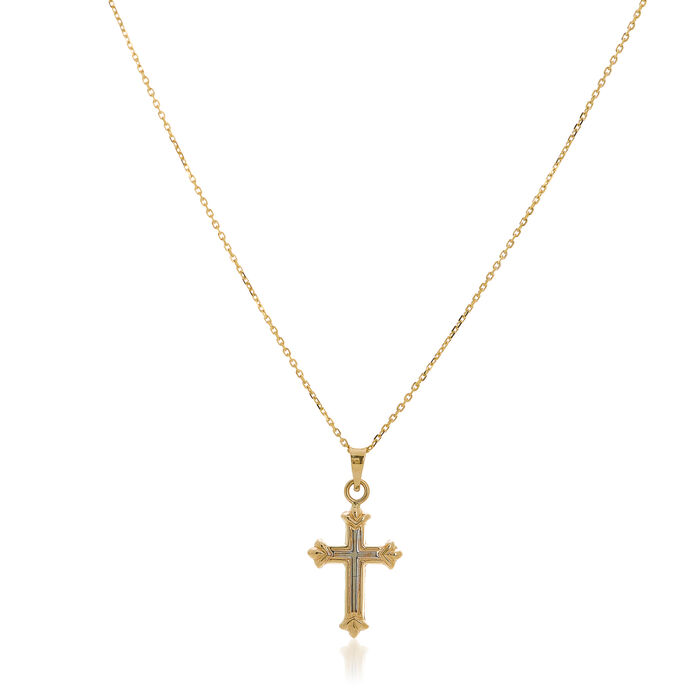 "14kt Two-Tone Gold Three-Dimensional Cross Pendant Necklace. 18"", , default"