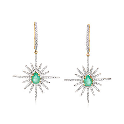 2.00 ct. t.w. Emerald and 1.05 ct. t.w. Diamond Starburst Drop Earrings in 14kt Yellow Gold, , default