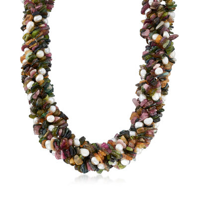 685.00 ct. t.w. Multicolored Tourmaline and 5-6mm Cultured Pearl Torsade Necklace in Sterling Silver