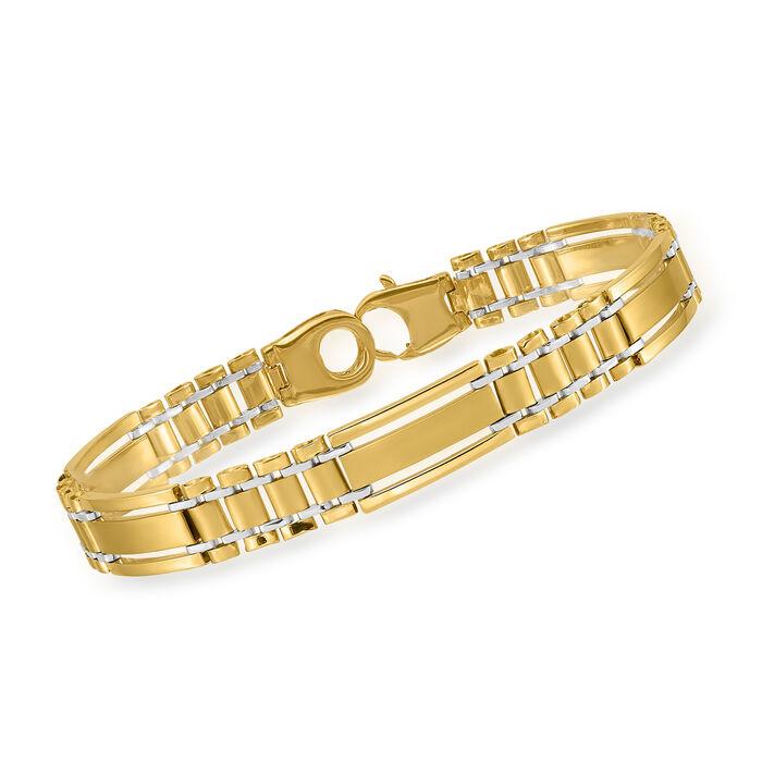 """Men's 14kt Yellow Gold Polished and Satin Link Bracelet. 8.5"""""""