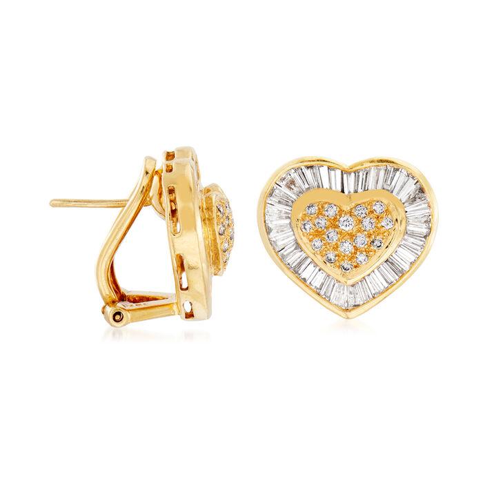 C. 1980 Vintage 2.00 ct. t.w. Diamond Heart Earrings in 18kt Yellow Gold