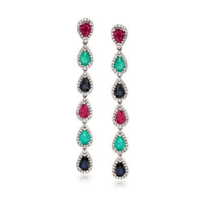 5.50 ct. t.w. Multi-Gemstone and .86 ct. t.w. Diamond Drop Earrings in 18kt White Gold, , default