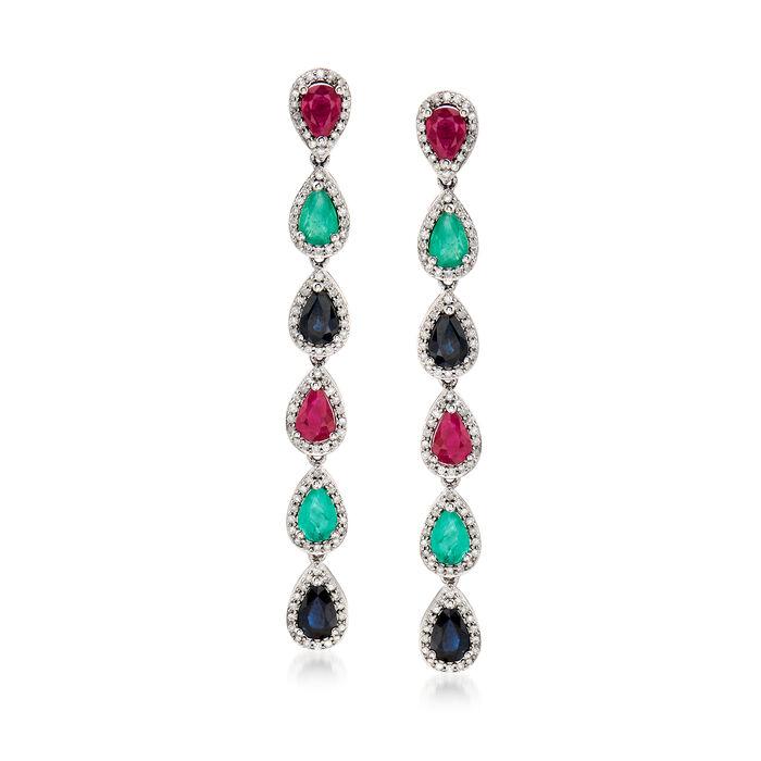 5.50 ct. t.w. Multi-Gemstone and .86 ct. t.w. Diamond Drop Earrings in 18kt White Gold