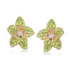 1.10 ct. t.w. Green Diopside and .20 ct. t.w. White Zircon Flower Earrings in 14kt Yellow Gold, , default