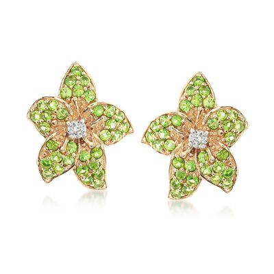 1.10 ct. t.w. Chrome Diopside and .20 ct. t.w. White Zircon Flower Earrings in 14kt Yellow Gold , , default