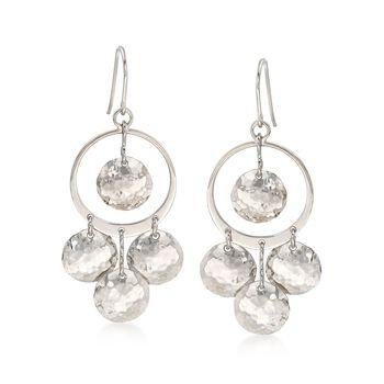 Sterling Silver Multi-Disc Drop Earrings , , default