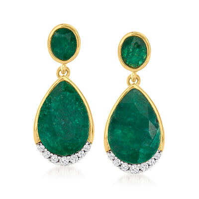 5.50 ct. t.w. Emerald and .14 ct. t.w. Diamond Drop Earrings in 18kt Gold Over Sterling