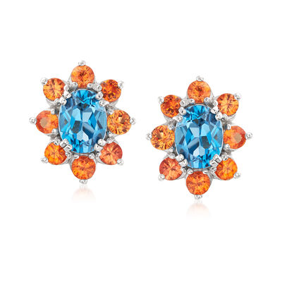 2.90 ct. t.w. London Blue Topaz and 1.90 ct. t.w. Orange Sapphire Halo Drop Earrings in Sterling Silver, , default