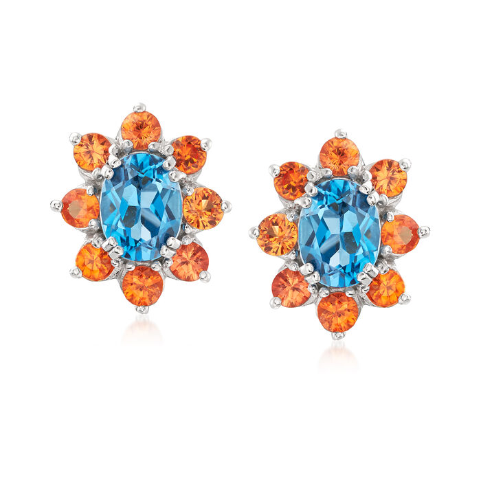 2.90 ct. t.w. London Blue Topaz and 1.90 ct. t.w. Orange Sapphire Halo Drop Earrings in Sterling Silver, , default