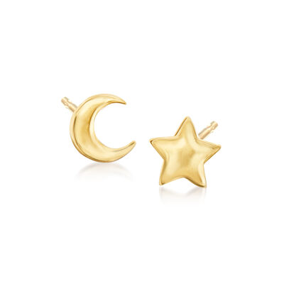 14kt Yellow Gold Mismatched Star and Moon Stud Earrings