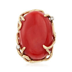 C. 1970 Vintage 26x19mm Coral Ring With Diamond Accents in 14kt Yellow Gold, , default