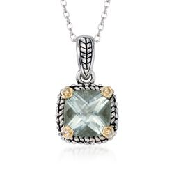 1.90 Carat Green Prasiolite Necklace in Sterling Silver and 14kt Yellow Gold, , default