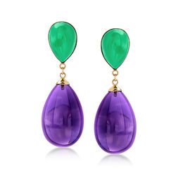 Green Jade and Amethyst Teardrop Earrings in 14kt Yellow Gold, , default