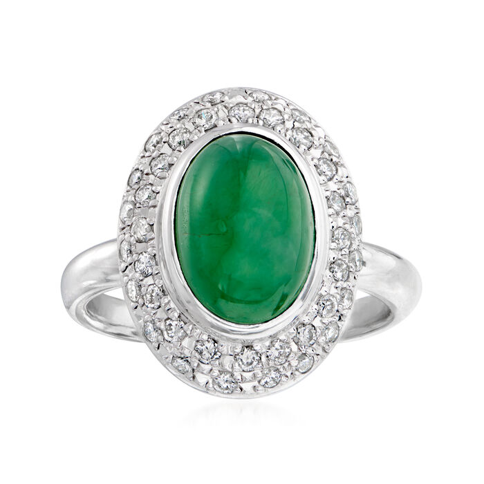 C. 1990 Vintage Jade and .50 ct. t.w. Diamond Ring in Platinum