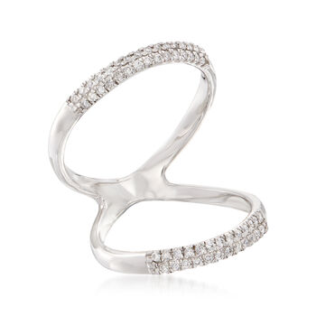 .18 ct. t.w. Diamond Open-Space Ring in 14kt White Gold. Size 5, , default