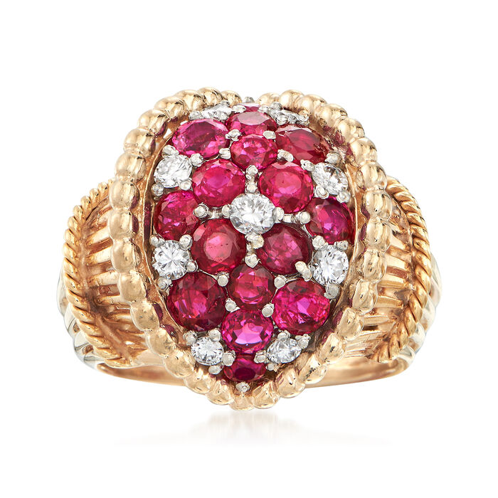 C. 1950 Vintage 1.50 ct. t.w. Ruby and .40 ct. t.w. Diamod Ring in 14kt Yellow Gold. Size 6.5