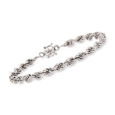 Textured Sterling Silver Rope Bracelet with Magnetic Clasp