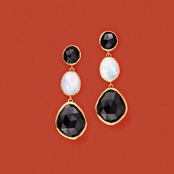 Moonstone and Black Onyx Drop Earrings in 18kt Gold Over Sterling, , default